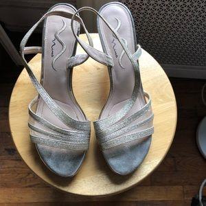 Worn once gold sandals/heels